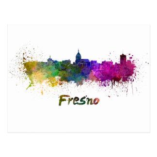 Fresno skyline in watercolor postcard