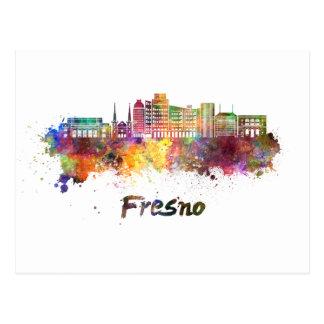 Fresno V2 skyline in watercolor Postcard