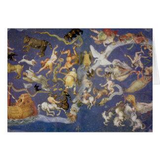 Fresque céleste de constellations d'astronomie vin carte de vœux