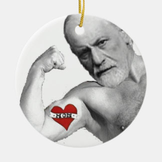 Freud Loves His Mother Round Ceramic Ornament