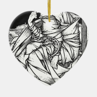 Frey seated on the throne of Odin Ceramic Heart Ornament