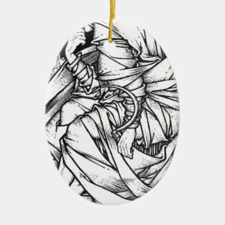 Frey seated on the throne of Odin Ceramic Oval Ornament
