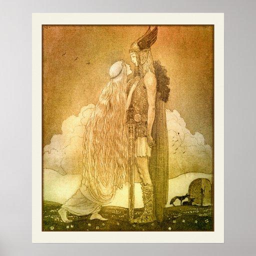 Freyja et Svipdag par John Bauer 1911 Poster