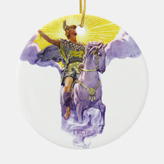 Freyr Round Ceramic Ornament