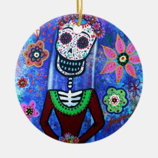 Frida Brida Day of the Dead Round Ceramic Ornament
