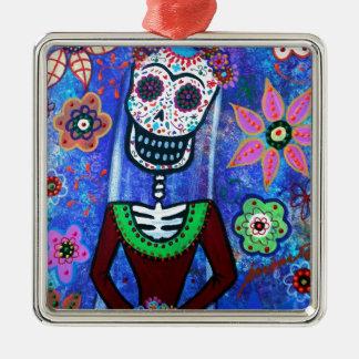 Frida Brida Day of the Dead Silver-Colored Square Ornament