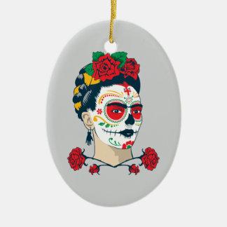 Frida Kahlo | El Día de los Muertos Ceramic Oval Ornament