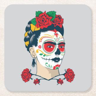 Frida Kahlo | El Día de los Muertos Square Paper Coaster