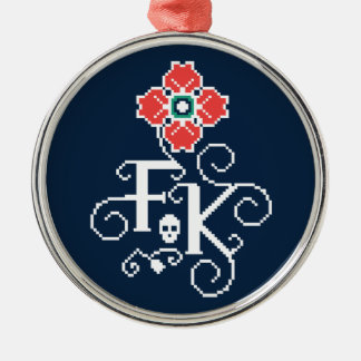 Frida Kahlo | Floral Tribute Silver-Colored Round Ornament