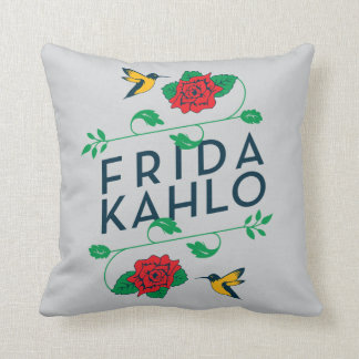 Frida Kahlo | Floral Typography Throw Pillow
