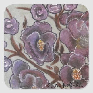 Frida Kahlo Painted Flowers Square Sticker
