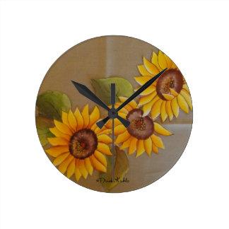Frida Kahlo Painted Sunflowers Round Clock