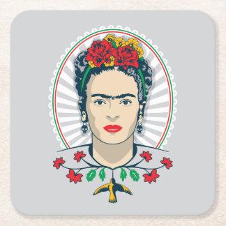 Frida Kahlo | Vintage Floral Square Paper Coaster