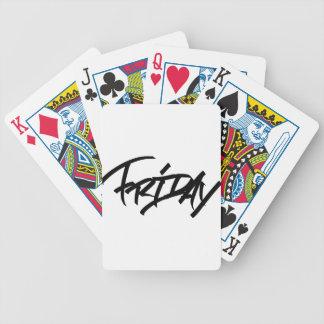 Friday graffiti tag bicycle playing cards
