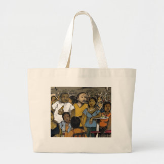 friday nite where's the party? large tote bag