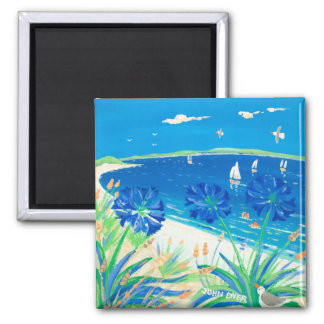 Fridge Art: Having a Dip, Pentle Bay Square Magnet