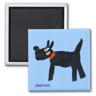 Fridge Art: John Dyer Blue Bella Scotty Dog Magnet