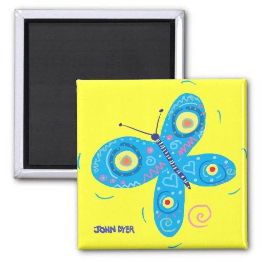 Fridge Art: John Dyer Blue Butterfly Magnet