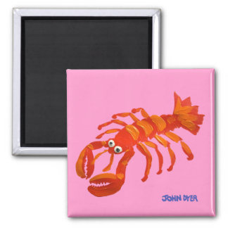 Fridge Art: John Dyer Red Lobster Square Magnet