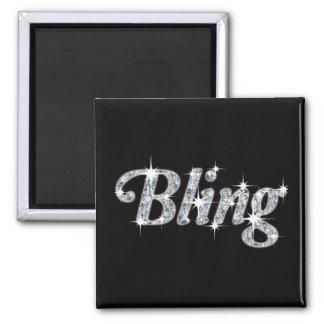 Fridge magnet with faux diamonds bling design
