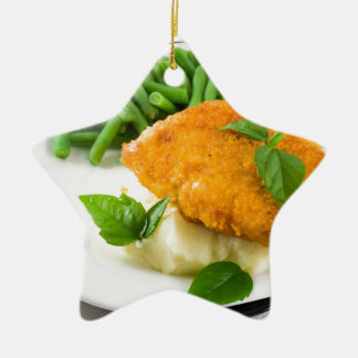 Fried breaded chicken, green beans and mash ceramic star ornament