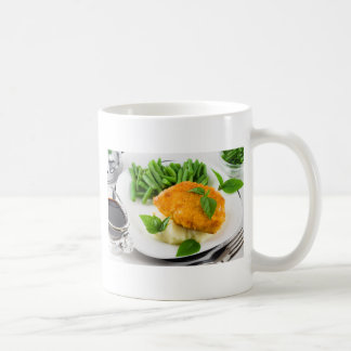 Fried breaded chicken, green beans and mash coffee mug