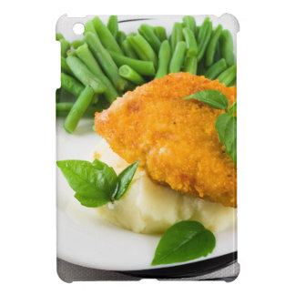 Fried breaded chicken, green beans and mash iPad mini case