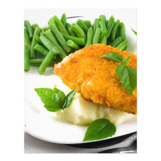 Fried breaded chicken, green beans and mash letterhead
