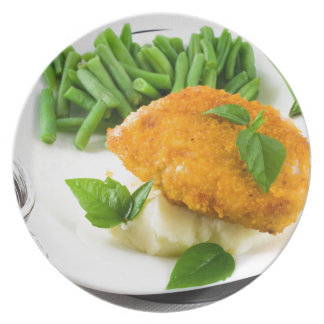 Fried breaded chicken, green beans and mash plate