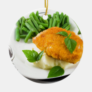 Fried breaded chicken, green beans and mash round ceramic ornament