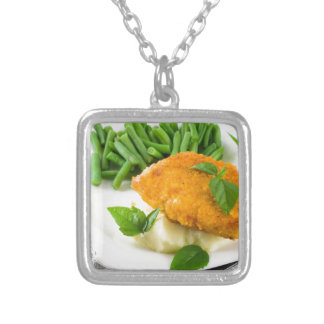 Fried breaded chicken, green beans and mash silver plated necklace