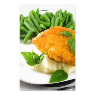 Fried breaded chicken, green beans and mash stationery