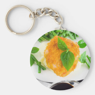 Fried chicken, mashed potatoes and green beans basic round button keychain