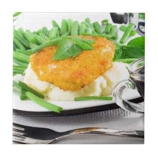 Fried chicken, mashed potatoes and green beans ceramic tiles