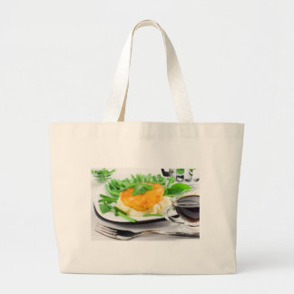 Fried chicken, mashed potatoes and green beans large tote bag