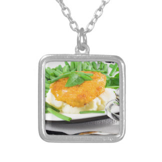 Fried chicken, mashed potatoes and green beans silver plated necklace
