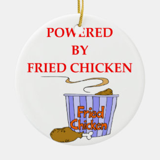 FRIED CHICKEN ROUND CERAMIC ORNAMENT