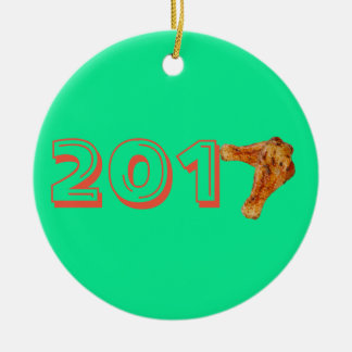 Fried cooked chicken leg ceramic ornament