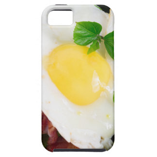 Fried eggs and bacon with herbs and lettuce iPhone 5 case