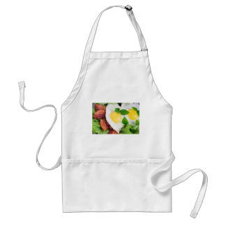Fried eggs and bacon with herbs and lettuce standard apron