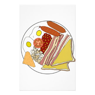 Fried English Breakfast Plate Personalized Stationery