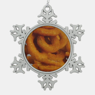 Fried Golden Onion Rings Photography Snowflake Pewter Christmas Ornament