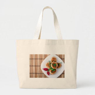 fried meatballs of minced chicken large tote bag