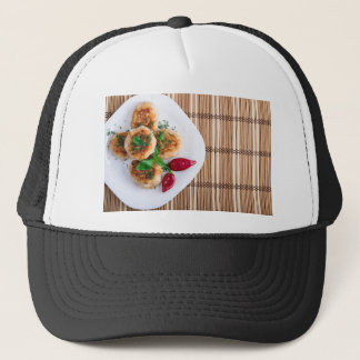 Fried meatballs of minced chicken with red pepper trucker hat