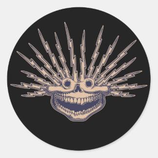 Fried Skull Round Sticker