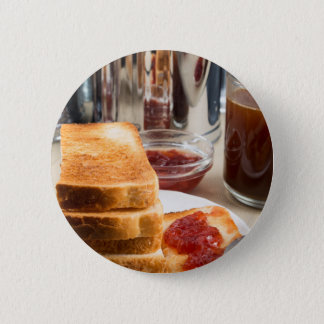Fried toast with strawberry jam 2 inch round button