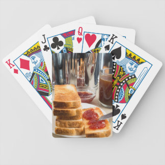 Fried toast with strawberry jam bicycle playing cards