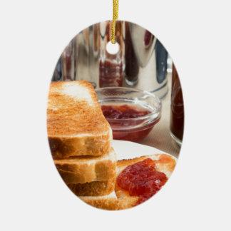 Fried toast with strawberry jam ceramic oval ornament