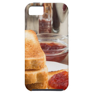 Fried toast with strawberry jam iPhone 5 cover