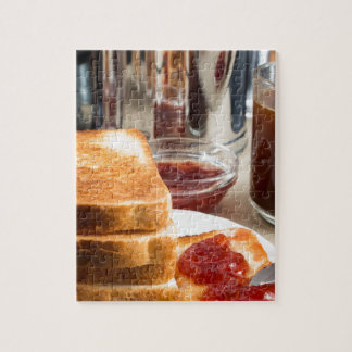 Fried toast with strawberry jam jigsaw puzzle